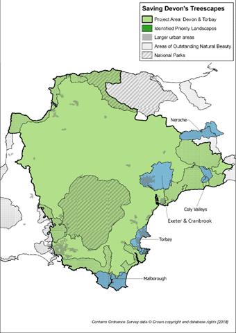 Saving Devon's Treescapes map